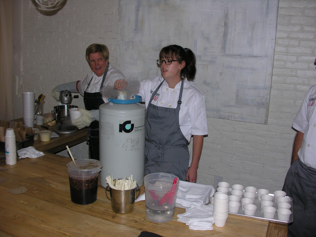 Pastry Chef Instructor Colleen Johnson prepares  liquid nitrogen ice cream with  pecans