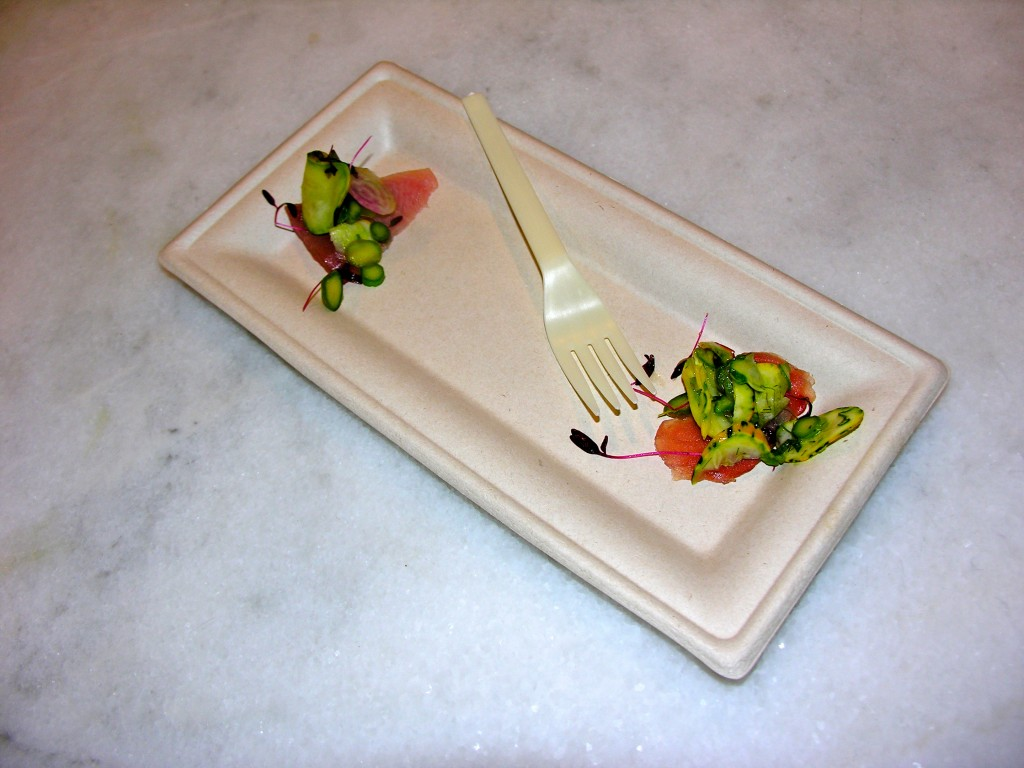 To complete the recipe, micro greens and other items were placed on top of the yellowtail tuna
